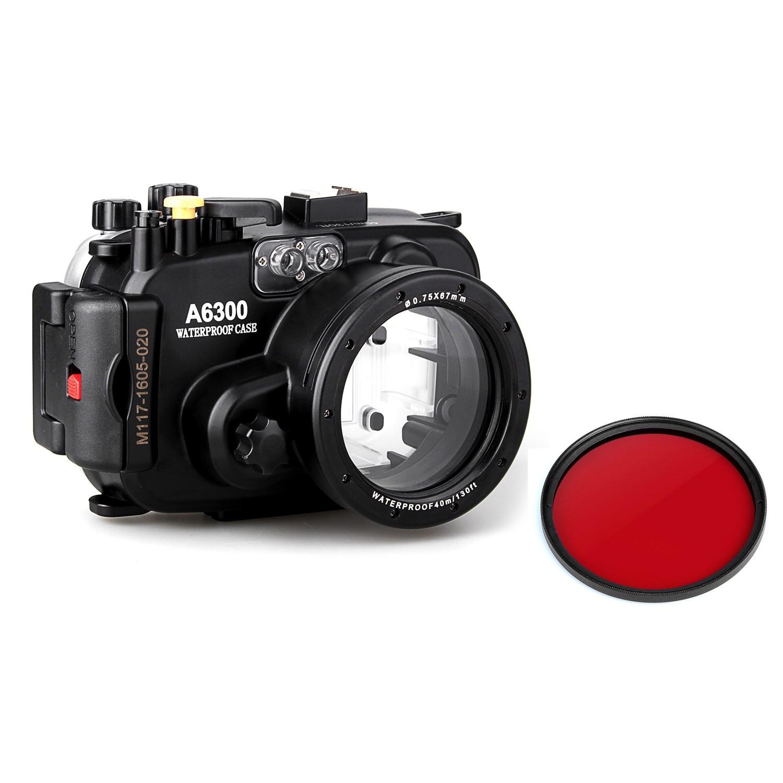 Meikon 40 m 130ft Subacquea Impermeabile Case Custodia Della Macchina Fotografica per sony A6300 MACCHINA fotografica + filtro Rosso