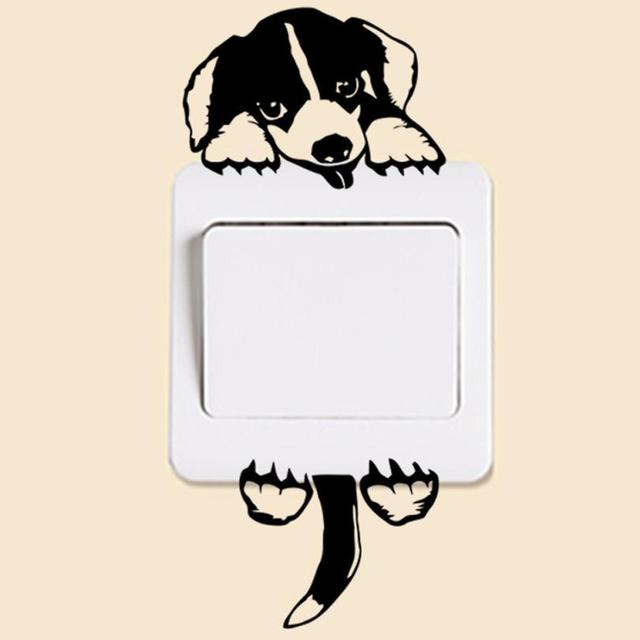 Wall Sticker Dog Puppy Mural light switch Wall Stickers funny wall art decal vinyl stickers Home  sc 1 st  AliExpress.com & Wall Sticker Dog Puppy Mural light switch Wall Stickers funny wall ...