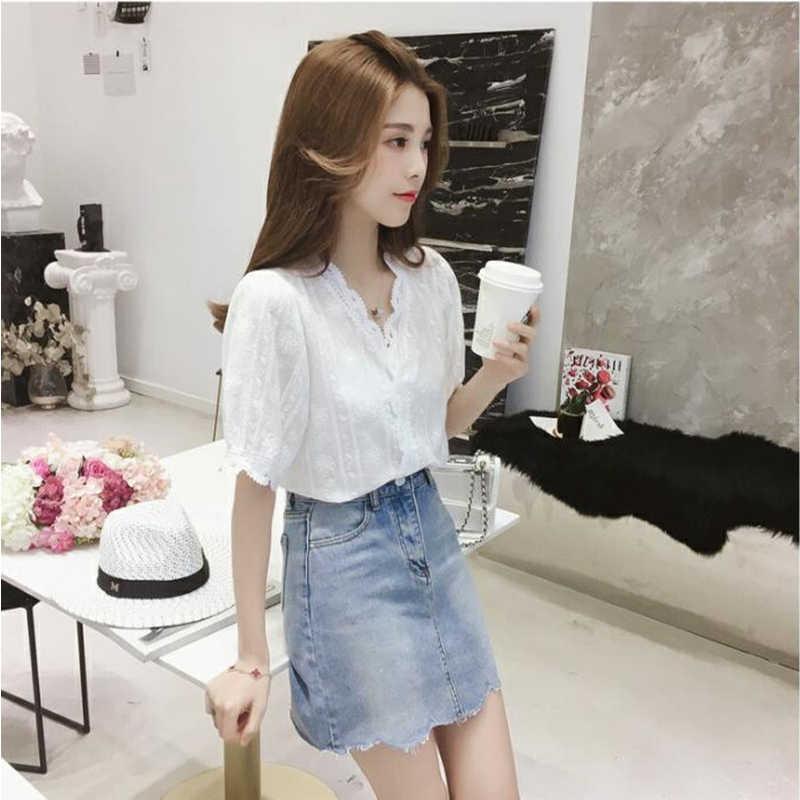 Fashion Musim Panas Wanita T-shirt V-neck Kasual Pakaian Wanita Plus Ukuran Renda Setengah Lengan Blus Wanita 5088 50