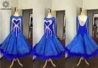GOODANPAR Ballroom Dresses Dance Women Girls Ballroom Dress For Dancing Waltz Flamenco Tango Long Sleeve Ostrich Feather