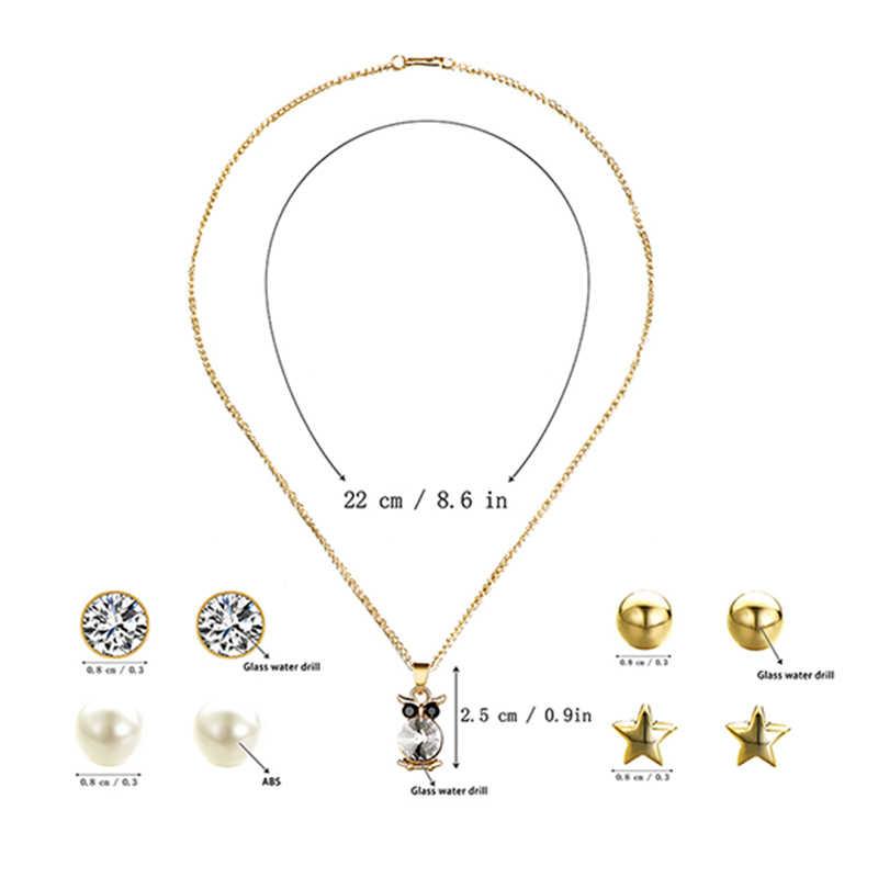 KLEEDER 2019 אופנה 5pcs זהב צבע ינשוף זירקון שרשרת הרבעה עגילי כלה תכשיטי סטי חתונה אירוסין אפריקאית תליונים