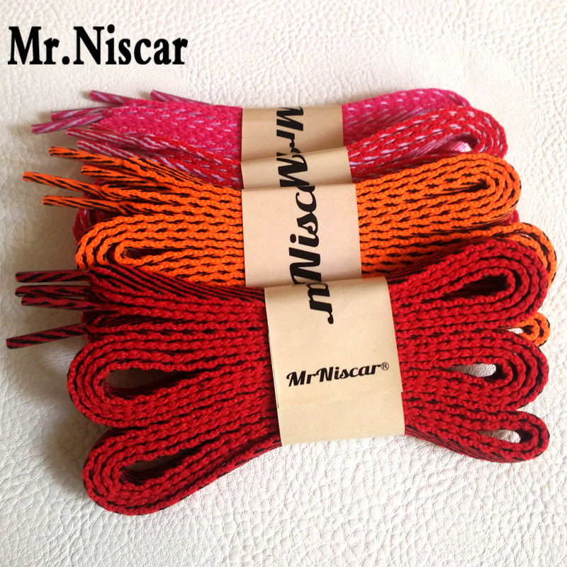 Mr.Niscar 1 Pair Polyester Flat Shoelaces for Canvas Shoes Oblique Stripes Colored Shoe Laces Casual Sports Laces Strings Rope