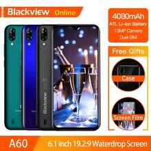 "Blackview A60 Original 6.1 ""스마트 폰 19.2:9 전체 물방울 화면 4080mAh 안드로이드 8.1 핸드폰 1GB + 16GB 13.0 MP 휴대 전화"