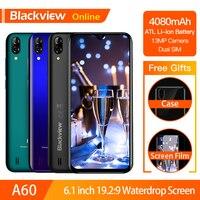 Blackview A60 Original 6.1 Smartphone 19.2:9 Full Waterdrop Screen 4080mAh Android 8.1 Cellphone 1GB+16GB 13.0 MP Mobile Phone