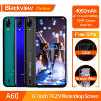 Blackview A60 Original 6.1 Smartphone 19.2:9 Full Waterdrop Screen 4080mAh Android 8.1 Cellphone 1GB+16GB 13.0 MP Mobile Phone