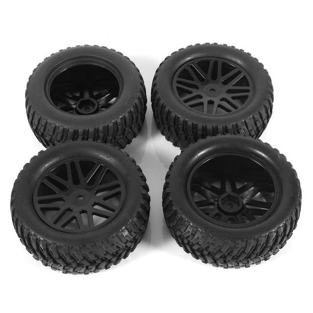 4 Pcs 95mm Rubber Banden & Velgen Voor Zwarte 1:10 Korte Baan Truck RC Rock Crawler Rally Racing off Road RC Car Vehicle Tyre
