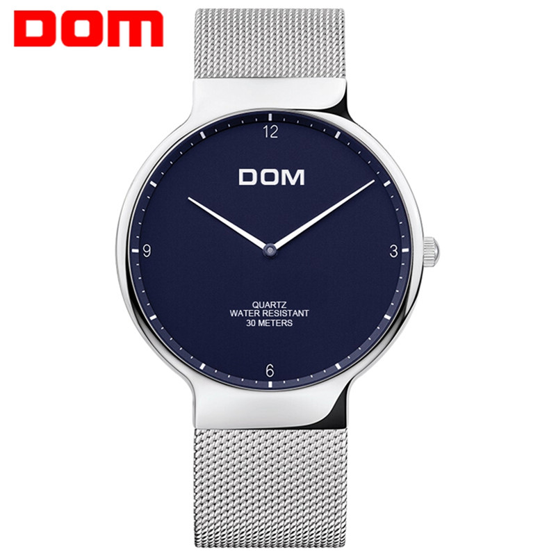 DOM Mens Watches Top Brand Luxury Quartz watch Casual quartz-watch Stainless Steel Mesh strap ultra thin Blue clock male Relog