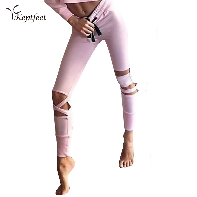 Party Bandage Trousers 2017 Latest Activewear Cross Women Leggings Black Cut Out Sexy Leggings High Waist Hollow Fitness Legging
