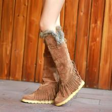 Free Shipping New 2013 Autumn And Winter High Boots Women'S Knee High Flat Students Fringed Snow Cotton Padded Boots H1115