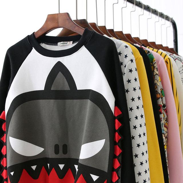 2017 New Fashion Harajuku 3D Thick Women Cartoon Sweatshirt