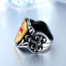 Stainless Steel Knights Templar Retro Cross Armor Shield Ring