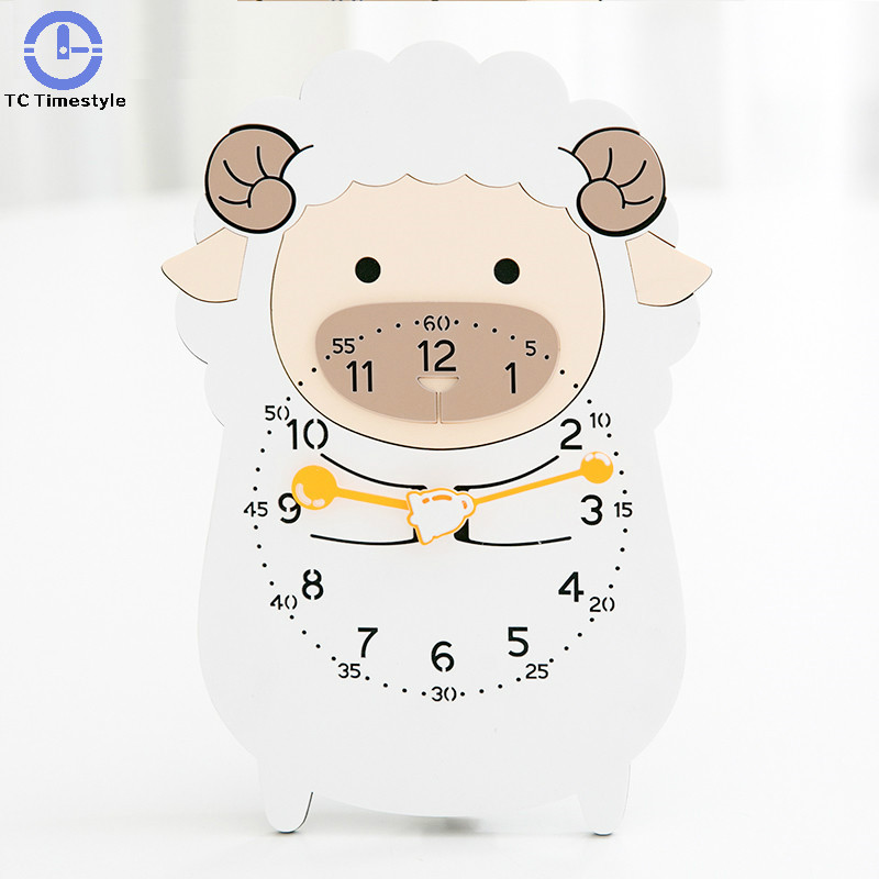 Dessin animé horloge bureau moderne minimaliste horloges murales pendule muet enfants adultes voyage chevet décor belle alarme animaux montres