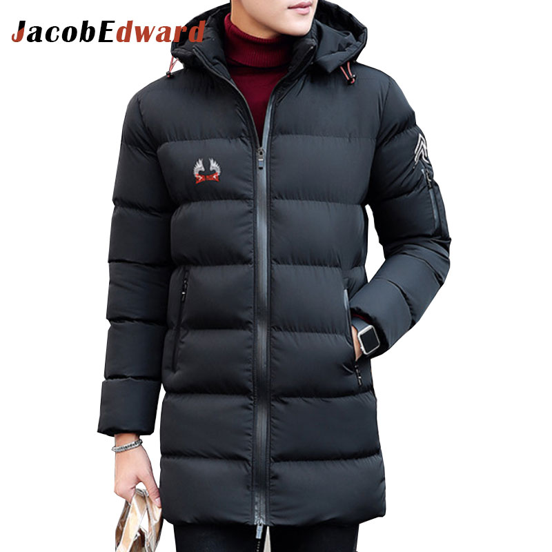 ФОТО Winter Mens Long Parka Coat Black Navy Mens Jackets And Coats 100% Polyester Men's Brands Clothing Jackets Coat Size L-4XL Parka