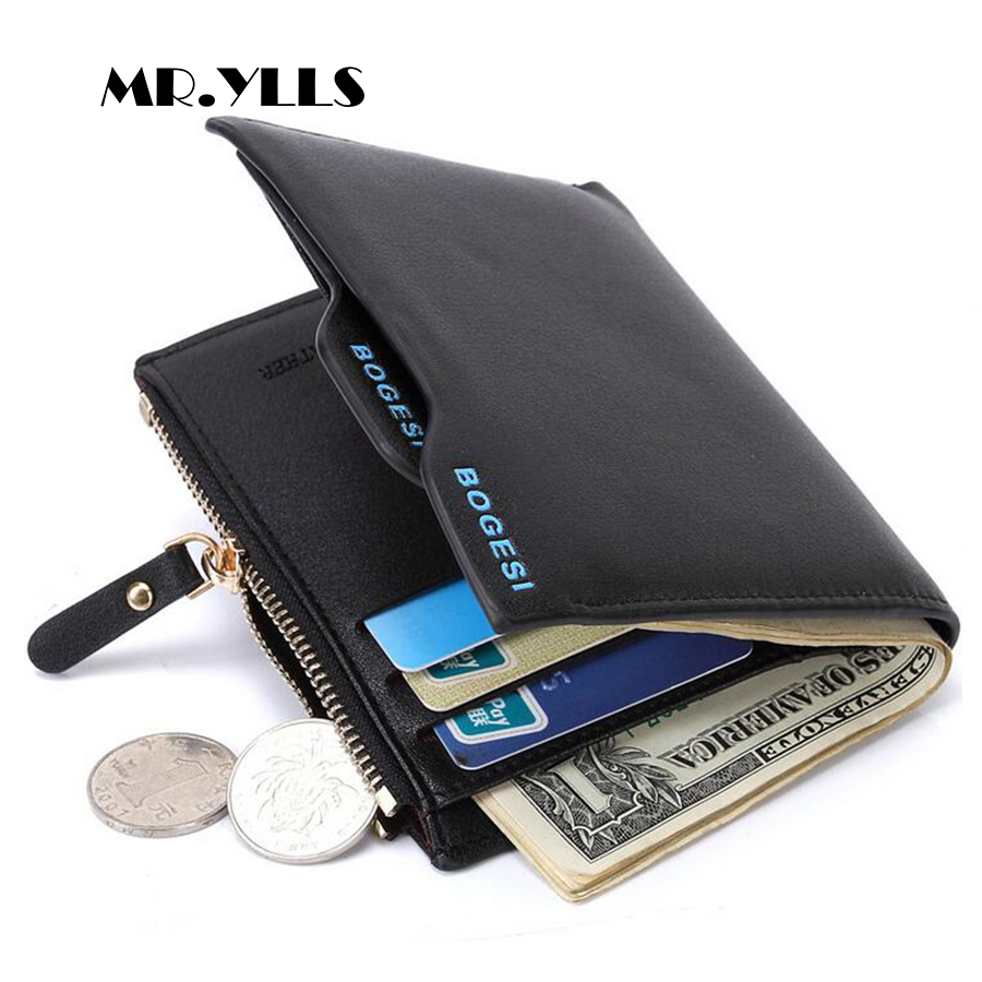 MR.YLLS High Capacity Business Men Wallet Brand Card Holder Fashion PU Purse Male Small Short Wallet Coin Pocket Simple Design