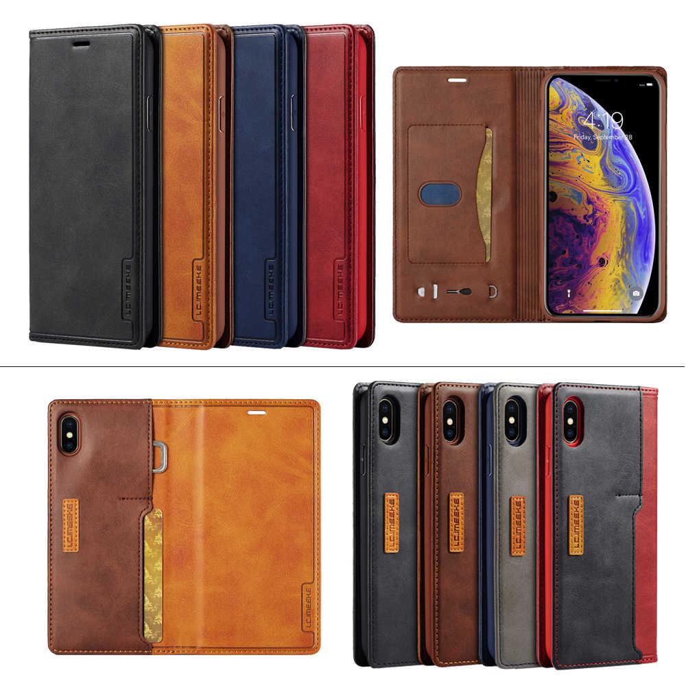 Leather Cases Voor Apple Iphone 12 11 Pro Mini X Xr Xs Max Promax 8 7 6 6S Plus contrast Kleur Flip Fundas Magnetische Leather Case