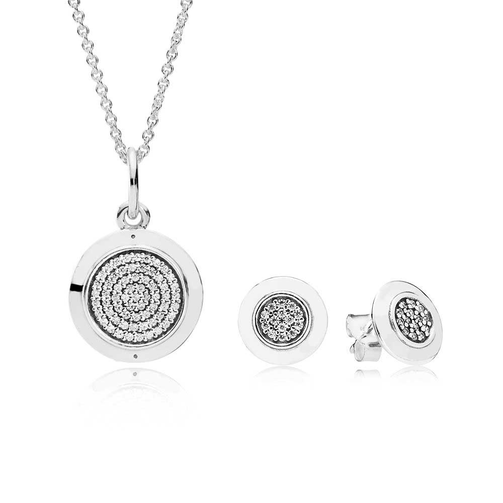 9b1e19909 100% 925 Sterling Silver Silver Signature Necklace And Earring Set fit  Charm Original Necklace Jewelry