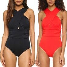 5 Colors Sexy Cross Halter Women Swimwear One Piece Swimsuit Black Red Solid Women Bathing Suits Beach Wear Swim Free Shipping