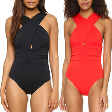 5 Colors Sexy Cross Halter Women Swimwear One Piece Swimsuit Black Red Solid Women Bathing Suits Beach Wear Swim Free Shipping