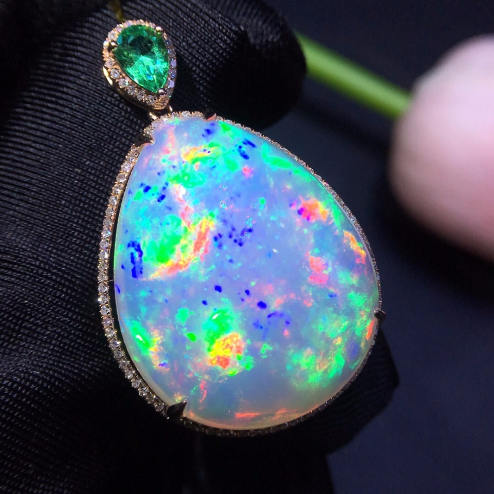 302 Fine Jewelry Real 18K Gold AU750 G18K Heart Natural 100% Opal Pendant Gold Diamond Pendant Gemstone Necklaces for Women