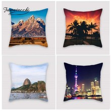 Fuwatacchi Natural Scenic Style Cushion Cover Ocean Moutain Printed Pillow Buildings Decorative Pillows For Sofa Car