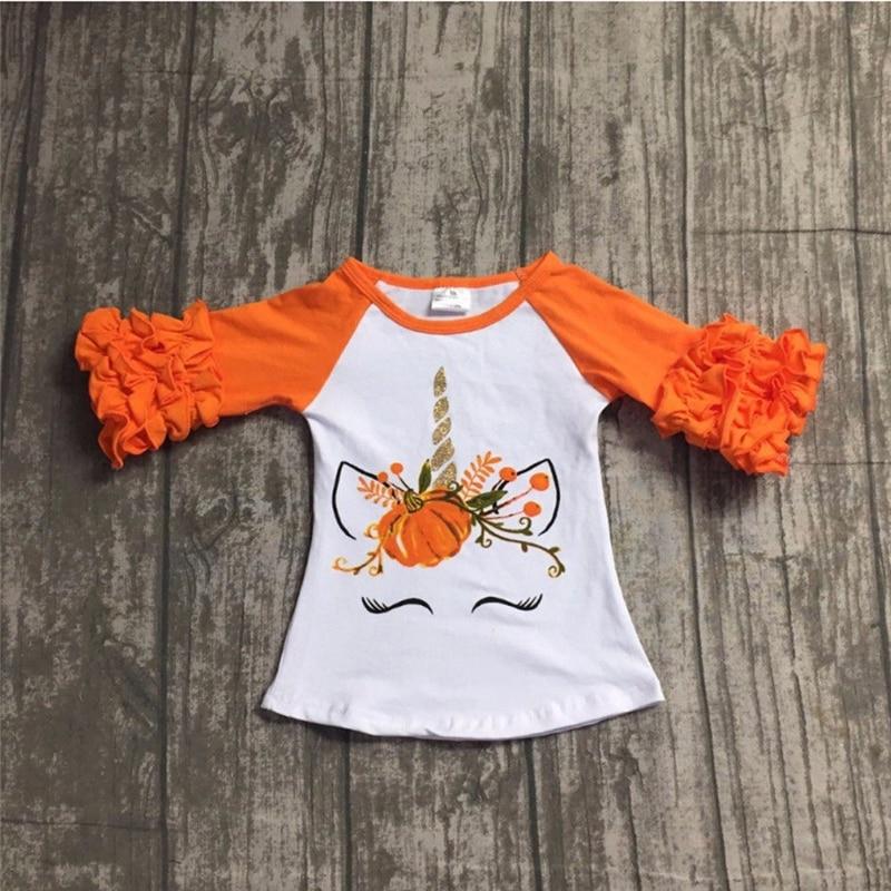 Kid Girls Cotton Unicorn Long Sleeve T-shirt Newest Spring Autumn Children Girl Cartoon Animal Tee Tops Fashion Ruffles Clothes
