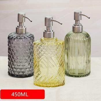 450ML Hand Lotion Dispenser Press Glass Liquid Dispenser Bottle Large Capacity Squeeze Cosmetic Shower Gel Pressing Bottle цена 2017
