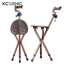 Регулируемая складная трость стул Массаж трость с сиденьем Портативный Рыбная ловля Rest стул со светодиодной подсветкой для пожилых