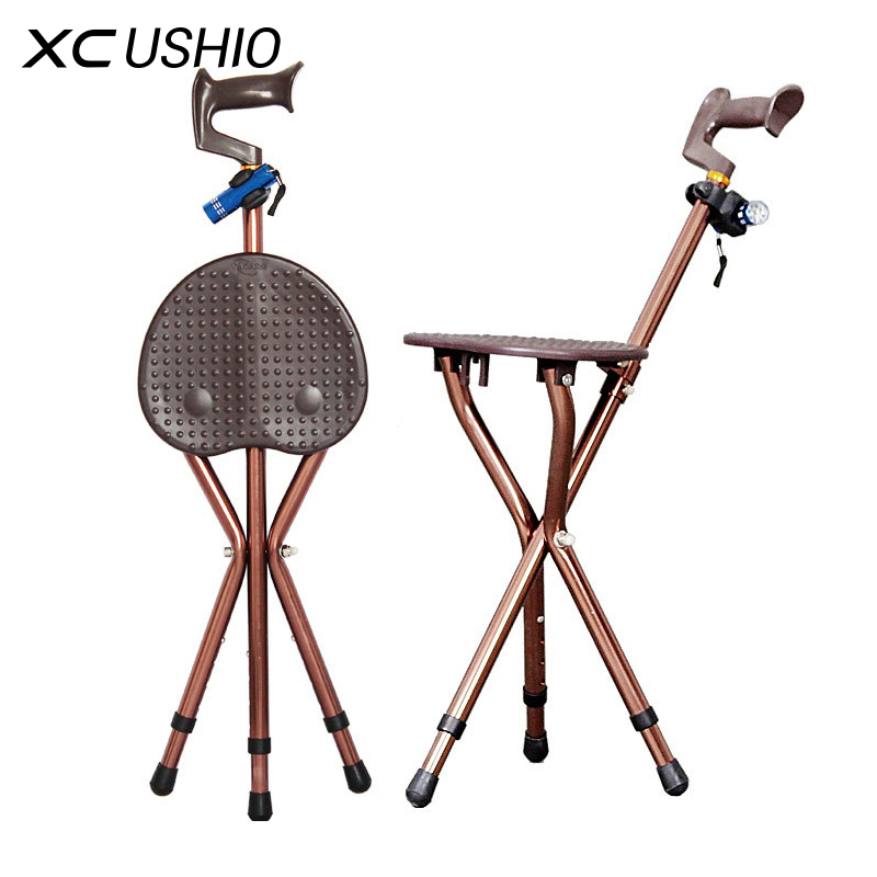 walking stick seat stool chair cigar leather adjustable folding cane massage with portable fishing ...