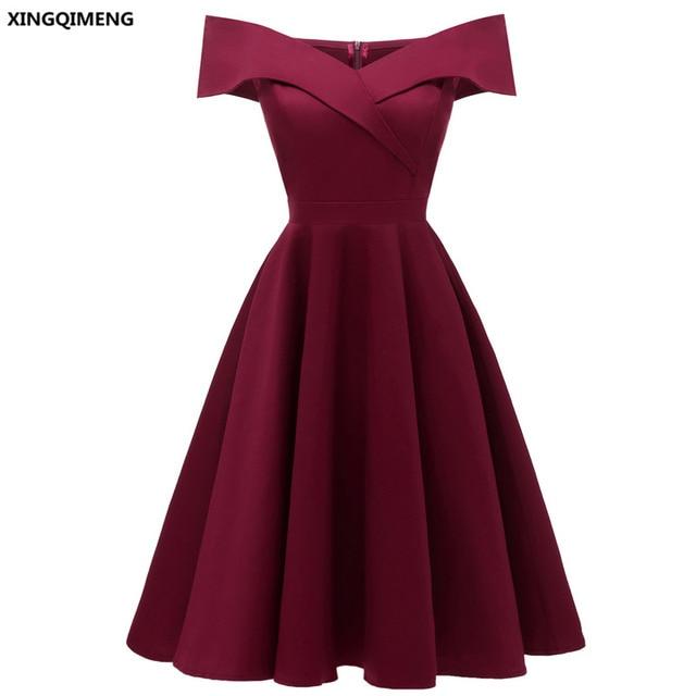 2fa95cd01 En Stock Vino Rojo Sexy Cuello Barco Vestidos De Noche Elegante