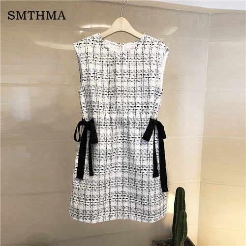 Smthma высокое качество подиумная винтажная клетчатая белая шикарная одежда зимнее женское платье с бантом твидовое шерстяное платье без рукавов Vestidos