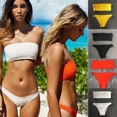 2018 Strapless Bikinis Set Solid Color Sexy Women Swimwear Padded Bra Bikini Triangle Bottom Swimsuits Bathing Suit Beachwear