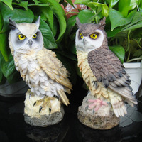 Owl resin ornament guarding the bird God of the meaty plant display statues sculpture Home wedding decoration dies