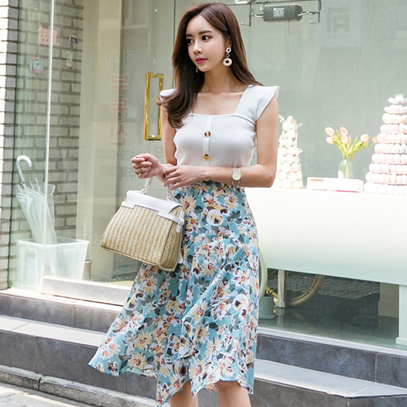 2018 Summer White Top Vest Knee-Length Pleated Print Chiffon Skirt Two Piece Casual Sets Daily Suit Dress