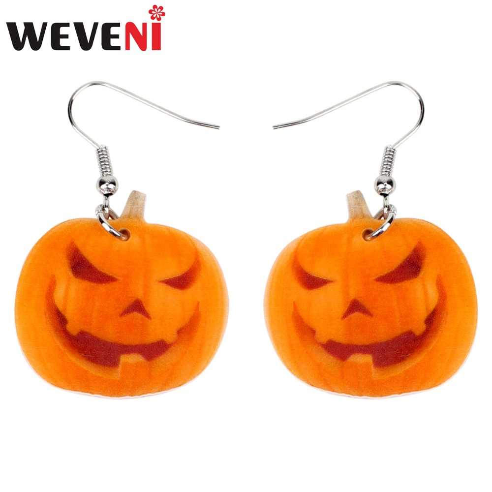 WEVENI Acrylic Halloween Smile Pumpkin Earrings Big Long Dangle Drop Fashion Novelty Jewelry For Women Girl Teens Gift Wholesale
