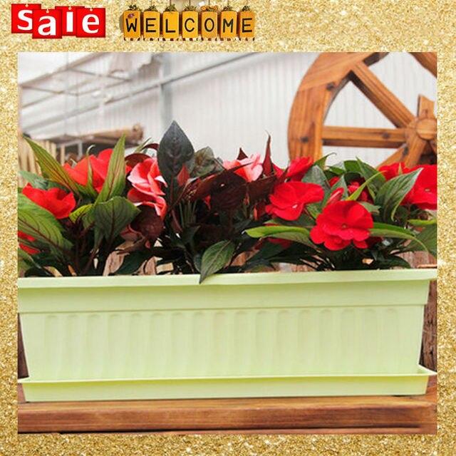 43x20x14cm Long Big Flower Pots Planter Trays Set Plastic Large