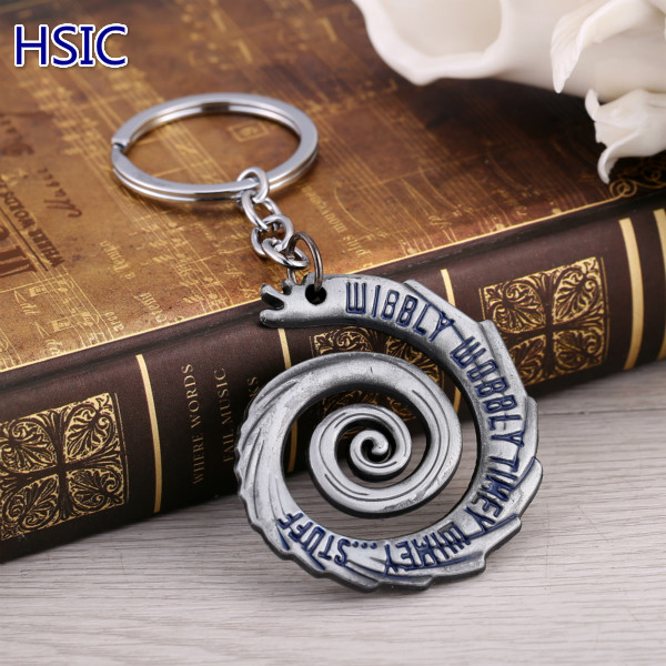HSIC 20pcs/lot Hot Doctor Who Wibbly Wobbly Timey Wimey Pendant Keychain Fashion For Men and Women Accessories Gifts 5*4.7cm
