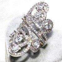 Luxury Big Jewelry Women Wedding Band Ring Widtth 30mm 925 Sterling Silver 218pcs Simulated Diamond Cz