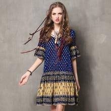 2016 New Vintage Ethnic Summer Style Tropical Print Dress Ruffles Short Sleeve Polka Dots Casual Beach Dresses Women Vestidos