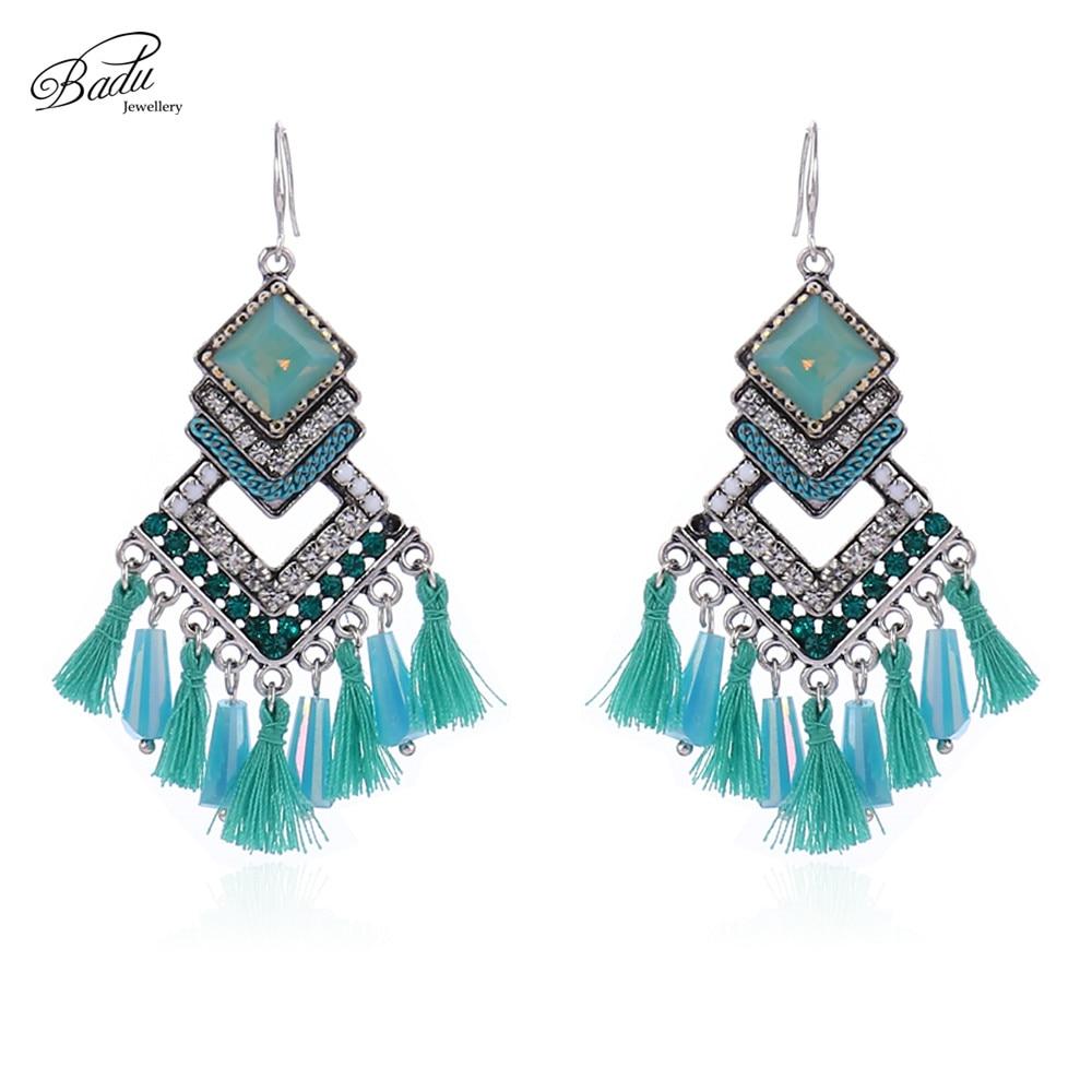 Badu Ethnic Earrings Fringe 3 Layer Big Rhombus Long Earring Women Jewelry Boho Fashion Handmade Wholesale