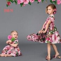 B&N Cotton Short Sleeve Floral Girls Dresses Ball Gown Party Dress For Girls Kid Tutu Dresses For Girls Children's Dress