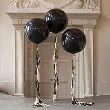 цена на 36 Inch Glitz And Glam Tassel Tail Black Giant Balloon for Halloween Party Wedding Decoration (3 Pack)
