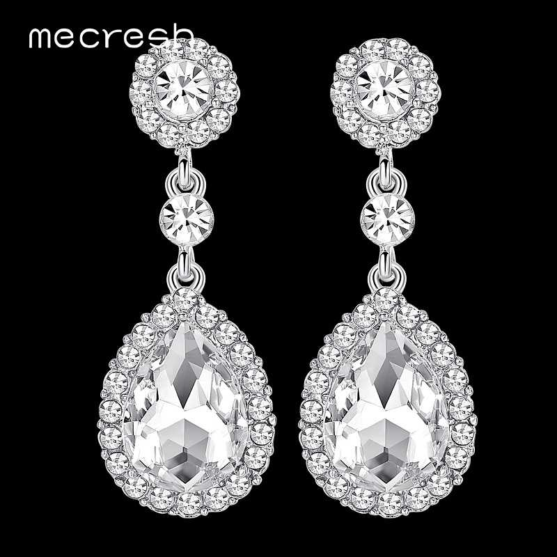 Mecresh Luxury Bridal Wedding Earrings Champagne/Silver Color Crystal Waterdrop Long Drop Brincos Jewelry Christmas Gift EH070
