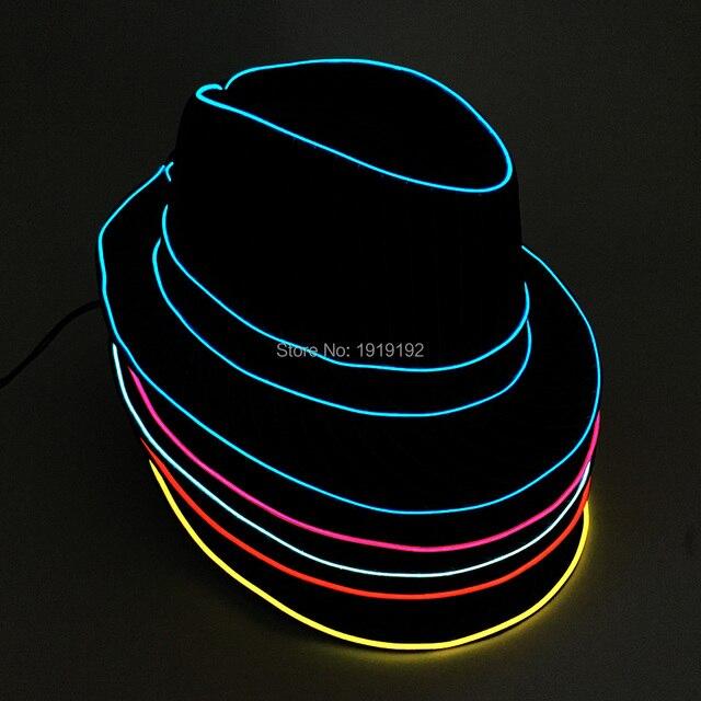 07740a3af5235 Wholesale 10 pcs Glow Hat 10 Colors Select LED Hats men EL Wire Gentleman  Caps wedding