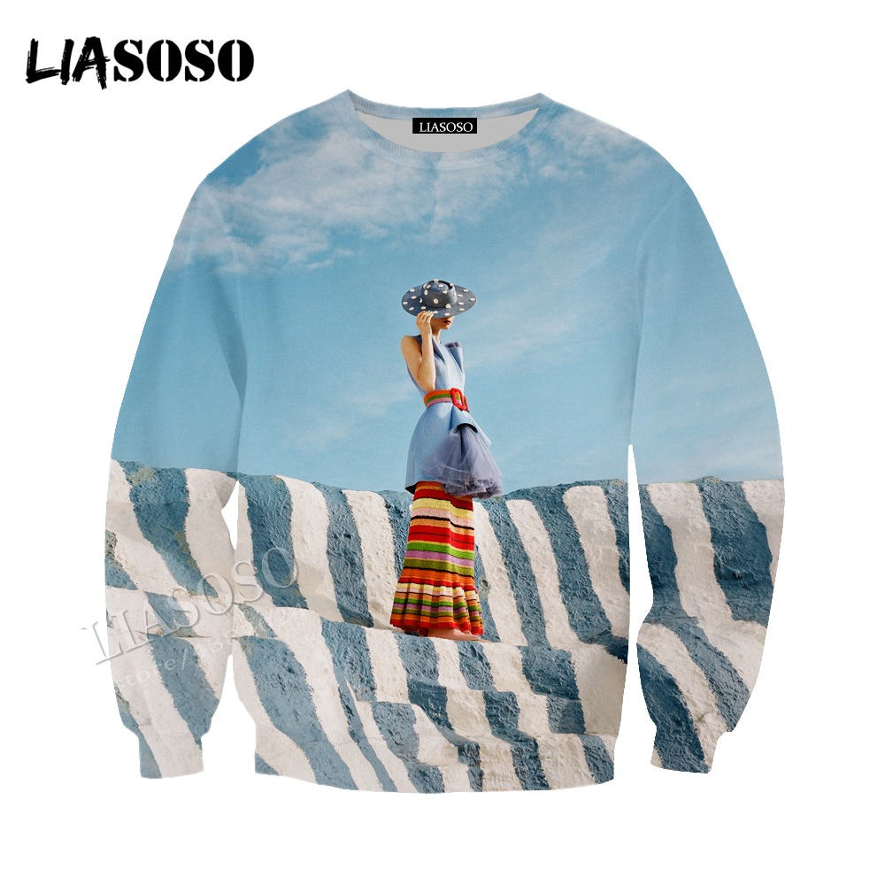 LIASOSO new printing Hat coat neutral casual pullover long-sleeved flowers 3D printing contrast color sweatshirt CX008