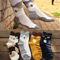 1Pair 2016 New Fashion Women Cute Cartoon Animals Striped Socks Cat Footprints Cotton Socks