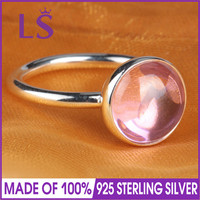 LS High Quality 100 Real 925 Sterling Silver Poetic Droplet Pink Ring For Women Party Wedding