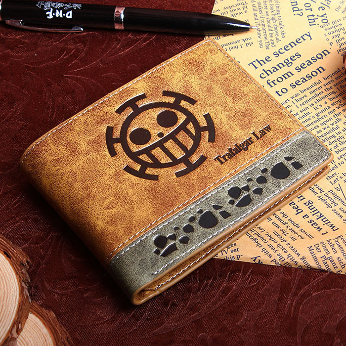PU short wallet printed with Japan Anime ONE PIECE Trafalgar Law with coin pocket multi-layer cards holder cartoon japan anime one piece luffy wallet with money coin pocket zipper leather pu purse