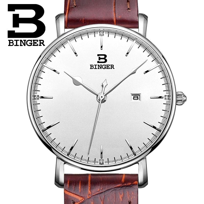 Switzerland BINGER Women's Watches Luxury Brand Quartz Leather Strap Ultrathin Female Wristwatches Waterproof Clock B3053W-1