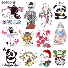 ZOTOONE Stripes Patches Set Iron on Transfer Cute Dog Cat Patch for T-shirts Girl Kid Clothing DIY Thermo Stickers Clothes G