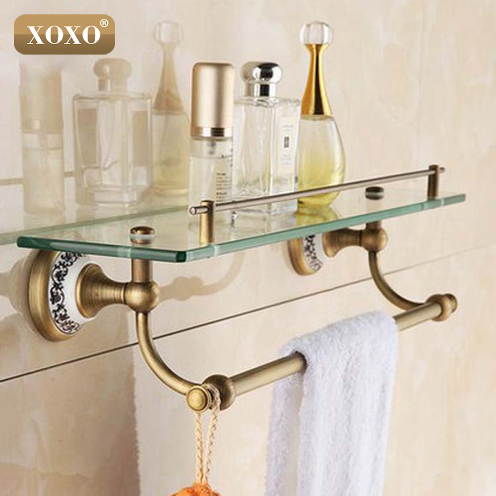 Xoxo new arrival bathroom accessories solid brass antique - Bathroom accessories glass shelf ...
